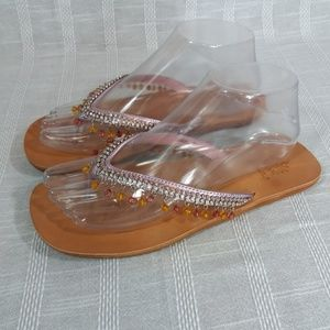 Yellow Box Sissie Flip Flop Sandals 7.5 Pink Beads